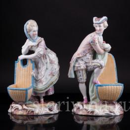 Фарфоровые статуэтки Пара с корзинами, Wallendorf, Германия, 19 в.