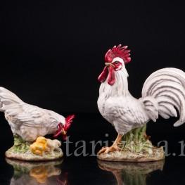 Статуэтка домашних птиц из фарфора Петух и курица, Goebel, Германия, до 1990 г.