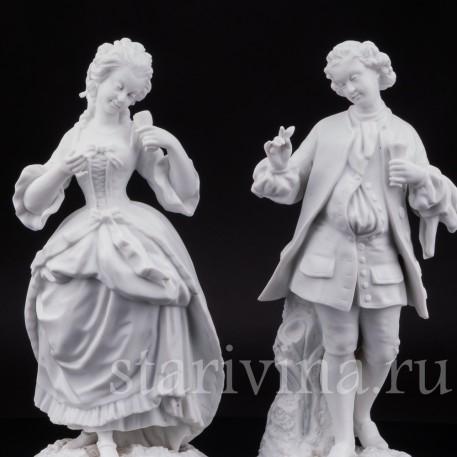 Парные фарфоровые статуэтки из бисквита За десертом, Франция, 19 в.